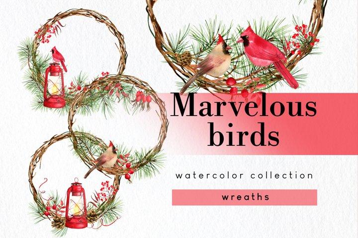 Christmas wreaths clipart with cardinal winter birds