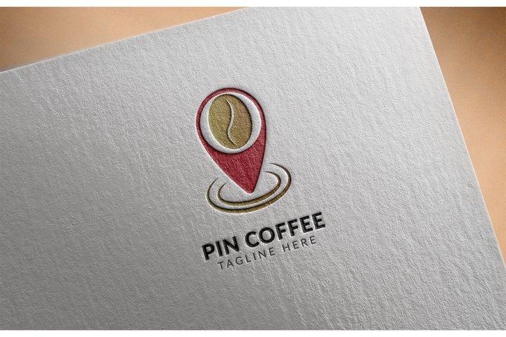 Awesome logo icon Pin Coffee creative design