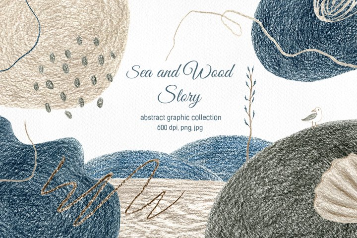 Sea and Wood Story. Abstract graphic collection