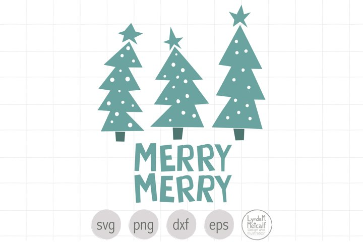 Merry Christmas Trees SVG Cut File for Christmas