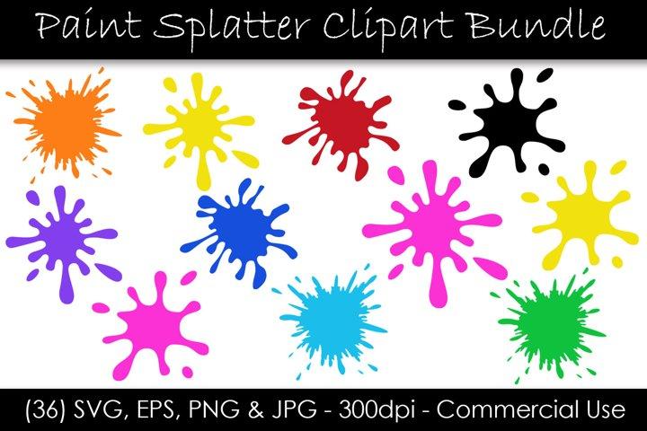 Paint Splatter SVG Bundle - Paint Splash Clip Art
