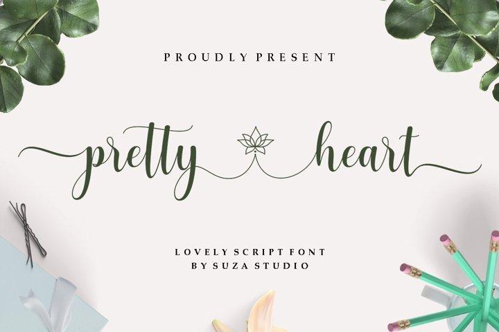 pretty heart - lovely script font
