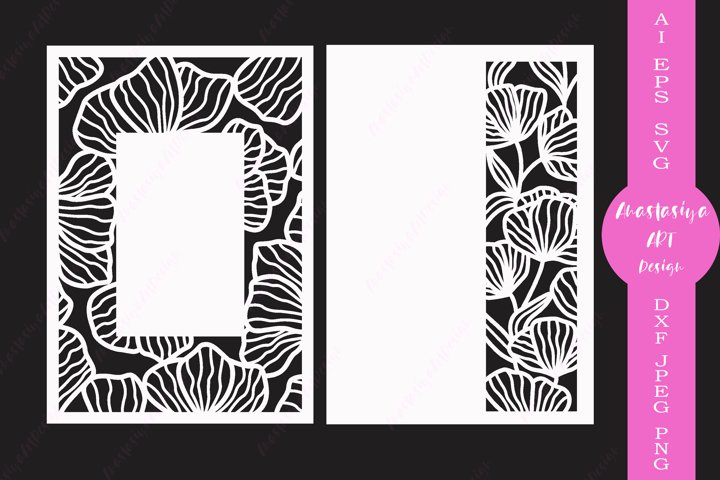 Floral card template svg, Wedding invitation, Menu cut file