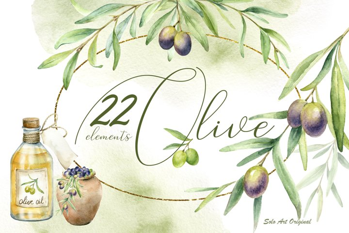 Olive trees. Watercolor clipart set.