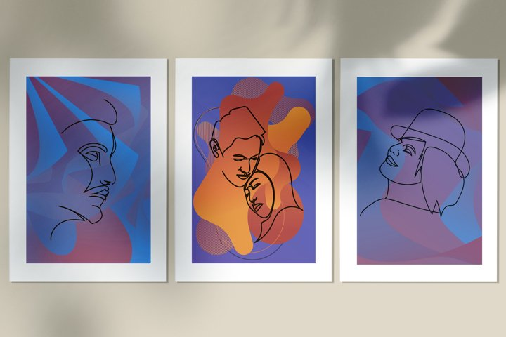 Abstract portraits wall art, Abstract modern painting print