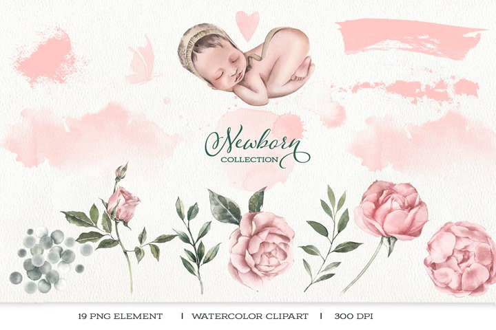 Watercolor clipart newborn baby and delicate flowers.