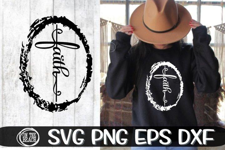 FAITH - CROSS - FRAMED - SVG PNG DXF EPS