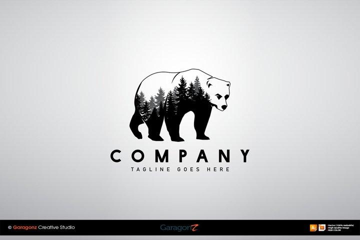 Double Exposure Wild Bear Pine Forest logo vector