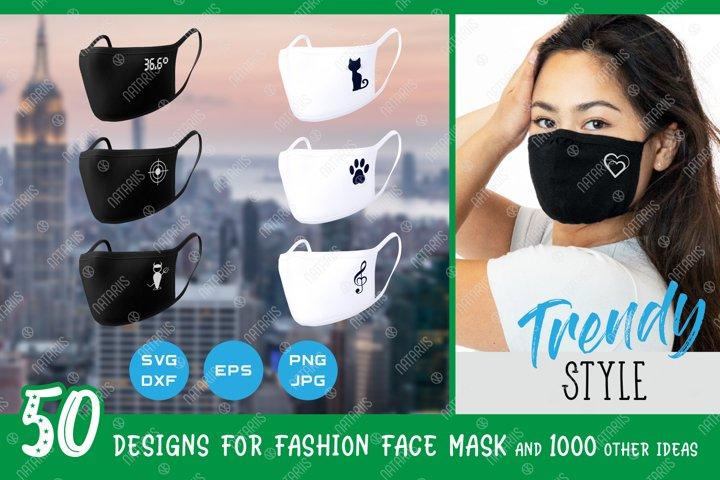 SVG Bundle. 50 Trendy designs for protective face mask.