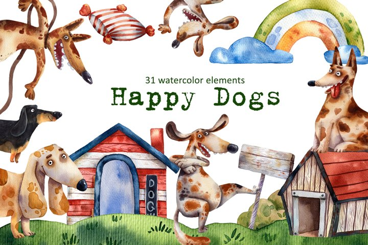 Happy Dogs - Clip Art Set