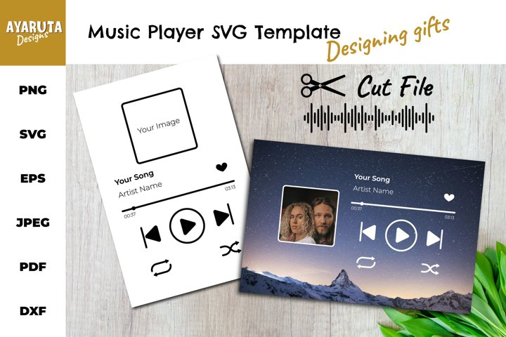 Music Player SVG Template/ Song Art/ Audio Buttons Cut File