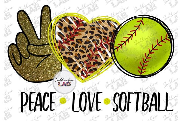 Peace Love Softball Design PNG Leopard Heart Softball Mom