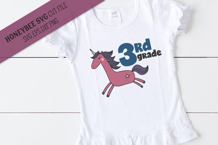 3rd Grade Unicorn SVG Cut File