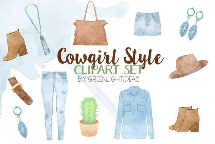 Watercolor Cowgirl Clothes Clipart, Country Clipart, Western Graphics