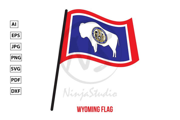 Wyoming U.S. State Flag Waving Vector