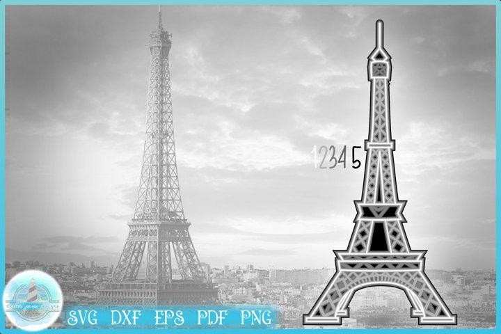 3D SVG | Eiffel Tower Paris Layered Design | 3D Mandala SVG