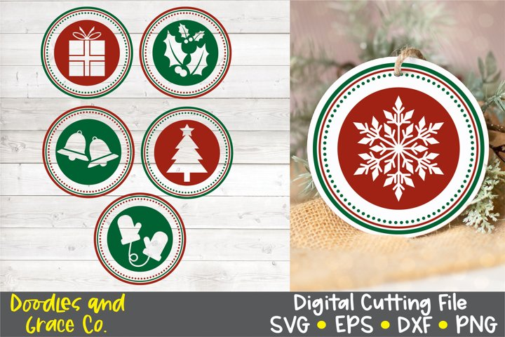Christmas Round Ornaments SVG - EPS - DXF - PNG