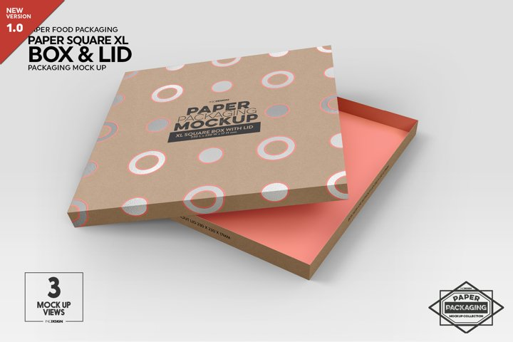 Extra Large Square Paper Box and Lid Packaging Mockup