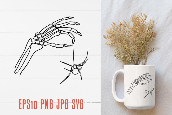 Halloween skeleton hand with spider / SVG Sublimation design