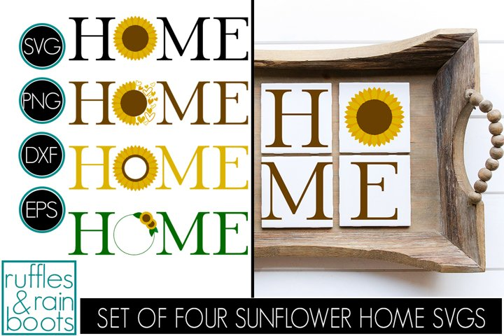 Sunflower HOME SVG Files - Four Designs in a Complete Set