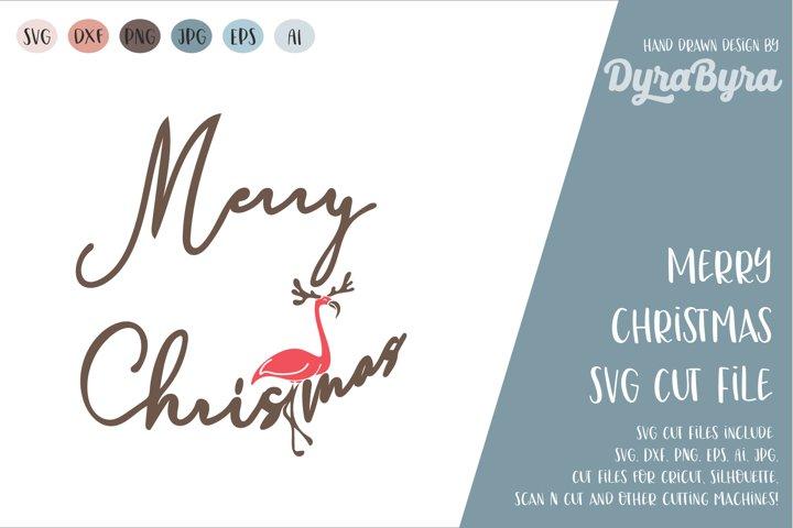 Merry Christmas SVG / Flamingo SVG / Deer SVG / Antlers SVG