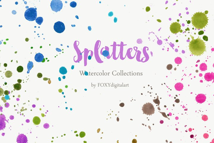 Watercolor Paint Splatters Brush Splashes Clipart