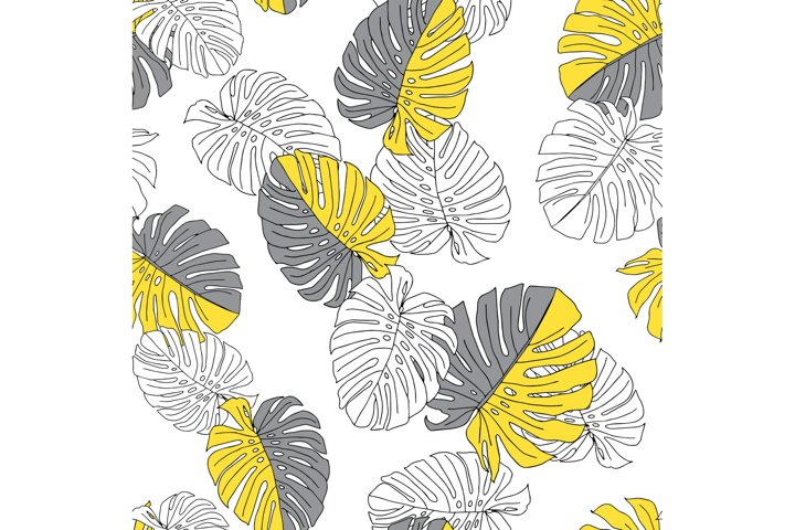 Illustration of yellow and gray leaves monstera