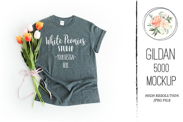 Dark Heather GILDAN 5000 Shirt Spring Easter Mockup