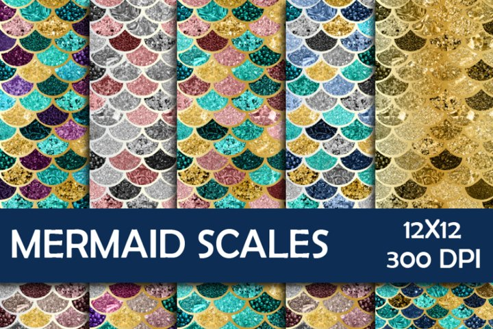 Glitter Mermaid Scales Digital Paper
