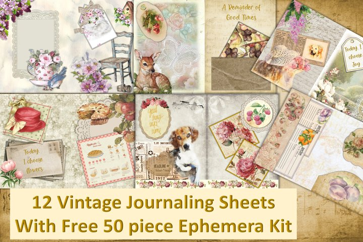 12 Vintage Journal Pages with FREE ephemera. Commercial Use