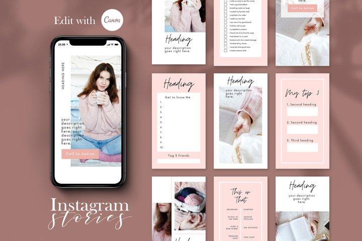 Instagram Story Templates, Premade Instagram Stories Canva