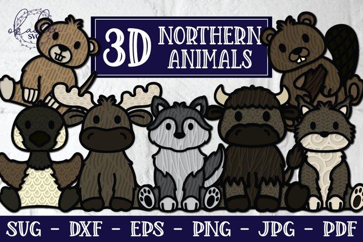 3D Northern Animals SVG, Animal Mandala, 3D Wolf, 3D Moose