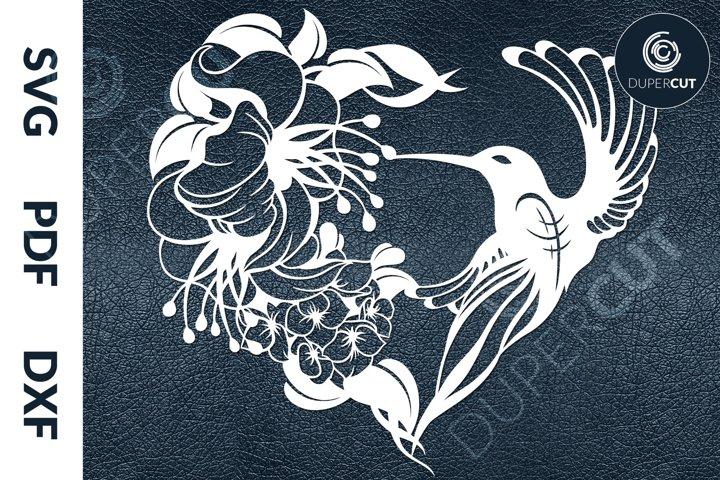 SVG / PDF / DXF Hummingbird, Papercutting Template