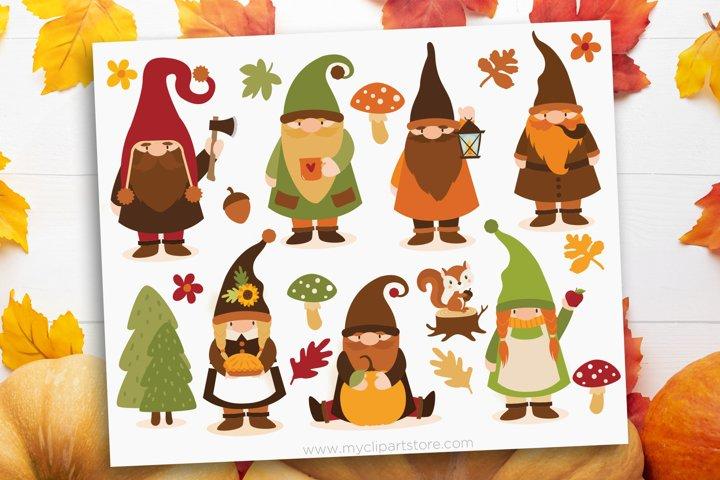 Scandinavian Fall Gnomes Clipart - Vector Clip Art & SVG