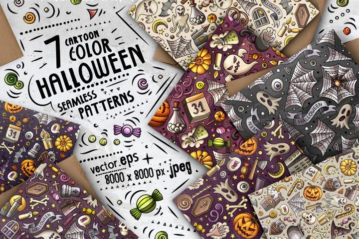 7 Halloween Cartoon Seamless Patterns