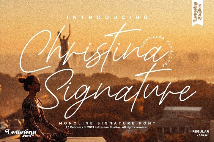 Christina Signature - Monoline Signature Font