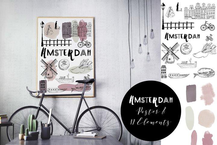 Amsterdam vector poster