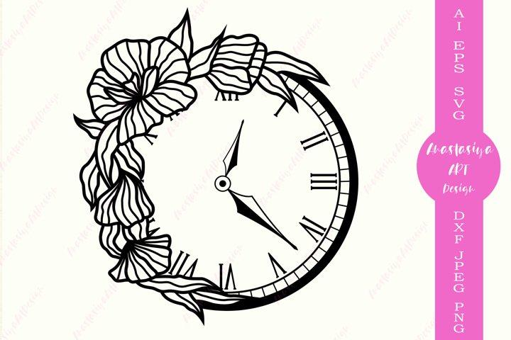 Floral clock svg, Alarm clock clip art, Wall clock dxf