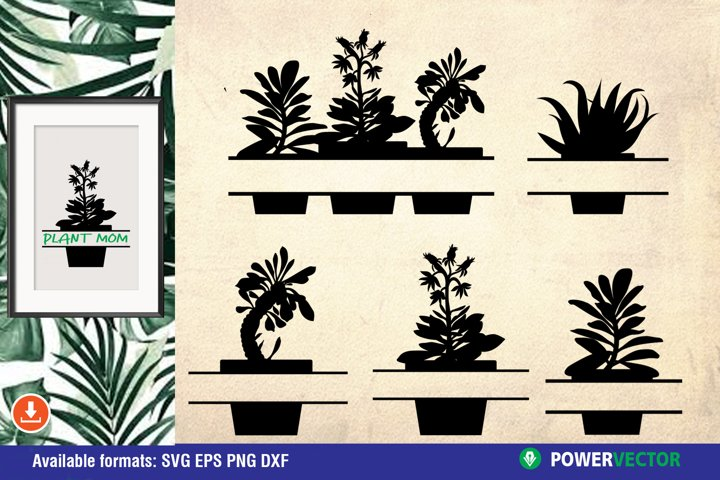 Succulents Monogram Frame| Split Plants SVG Files