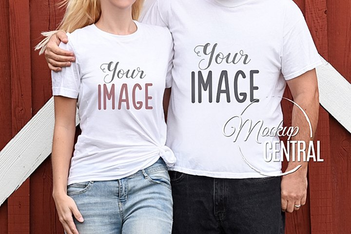 Couples Matching Blank White Love T-Shirt Mockup JPG Shirt
