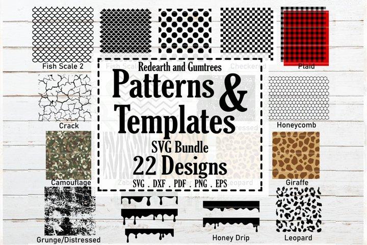 Patterns and stencil templates bundle SVG,plaid,distressed