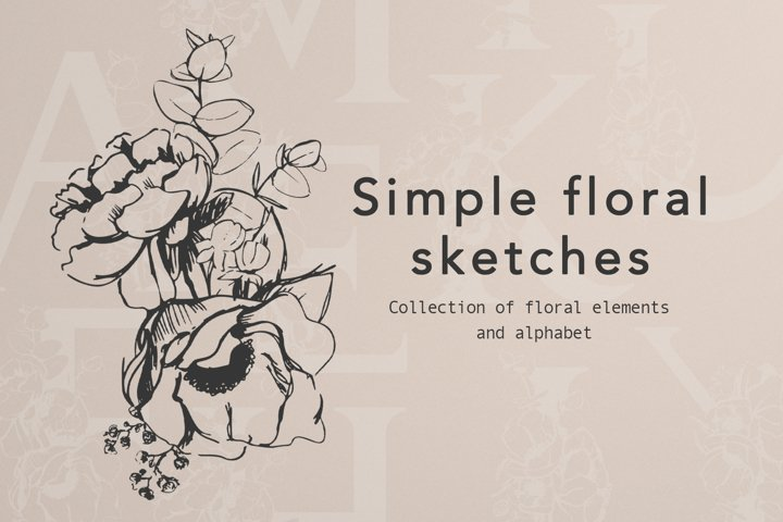 Simple floral sketches and Alphabet design