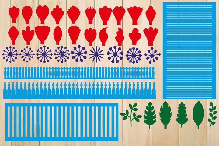 Paper Flower Template Bundle, Flower Petal SVG, Leaf SVG