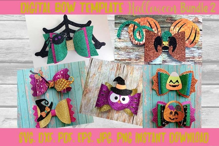 Halloween Bow Template Bundle 2,Halloween Bow, Batwing Bow