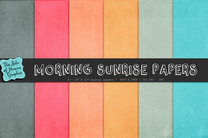 Textured Digital Scrapbook Papers - Morning Sunrise