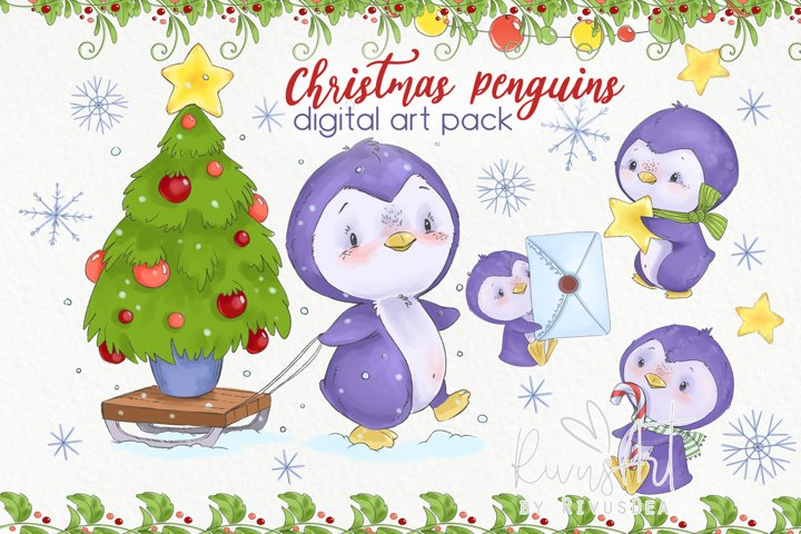 Christmas Penguins clipart pack