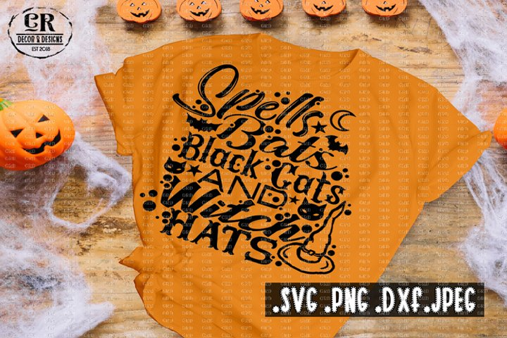 Spells Bats Black Cats And Witch Hats svg