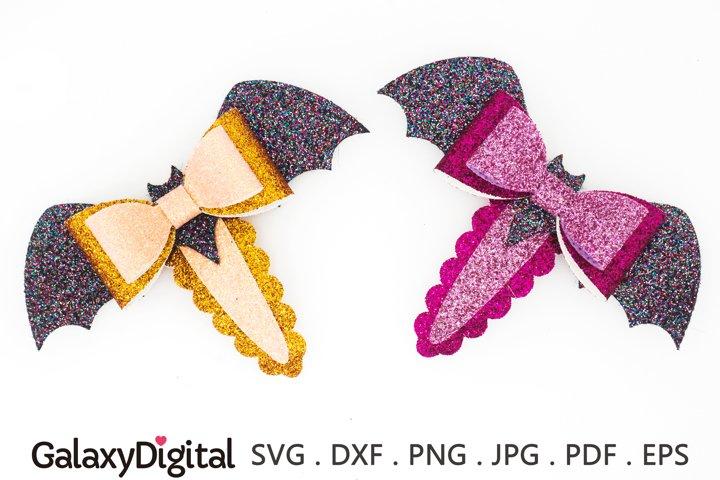 Halloween Bat Snap Clip SVG, Hair Clip Cover Template SVG