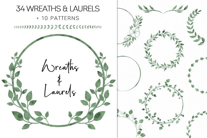 Green Watercolor Wreaths And Laurels Clipart, Greenery PNG