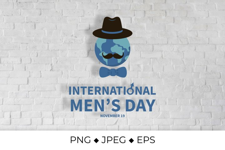 International Mens Day lettering with globe, hat, mustache